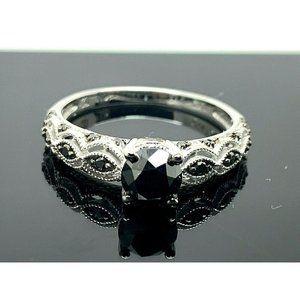 Engagement Ring 10k White Gold Black Zirconia SZ 8